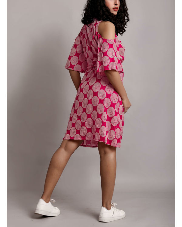 Pink cold shoulder wrap dress 1