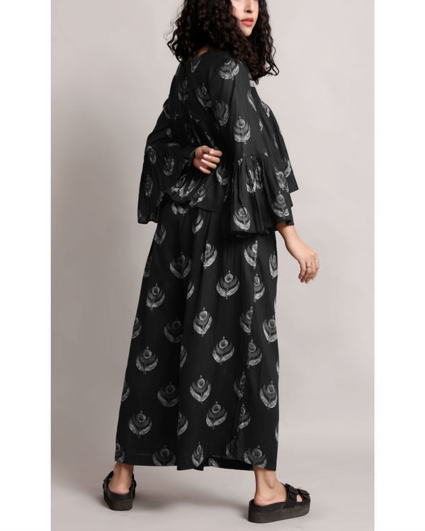 Black flare crop and culottes set 1