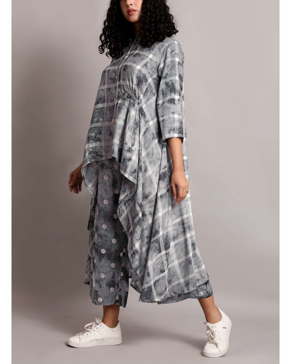 Grey shaded high low kurta set 2