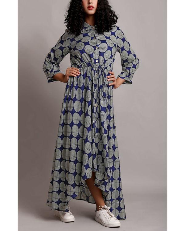 Blue high low drawstring shirt dress 3