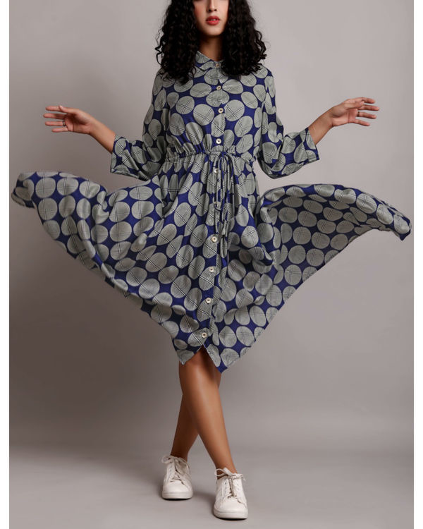 Blue high low drawstring shirt dress 2