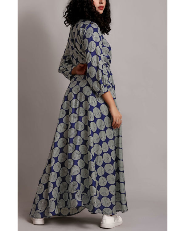 Blue high low drawstring shirt dress 1
