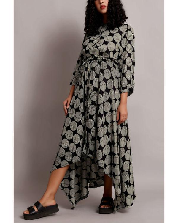 Black high low drawstring shirt dress 2