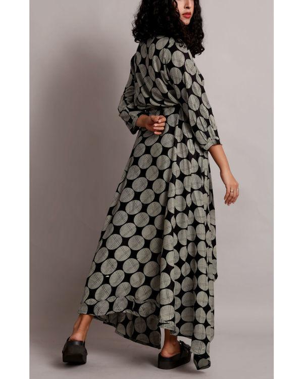 Black high low drawstring shirt dress 1