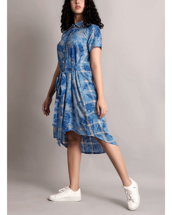 Blue half and half front tie-up dress 2