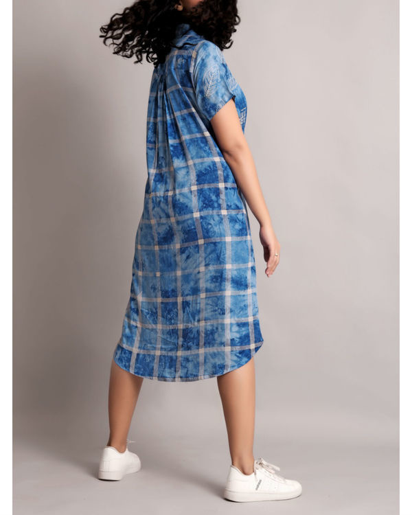 Blue half and half front tie-up dress 1