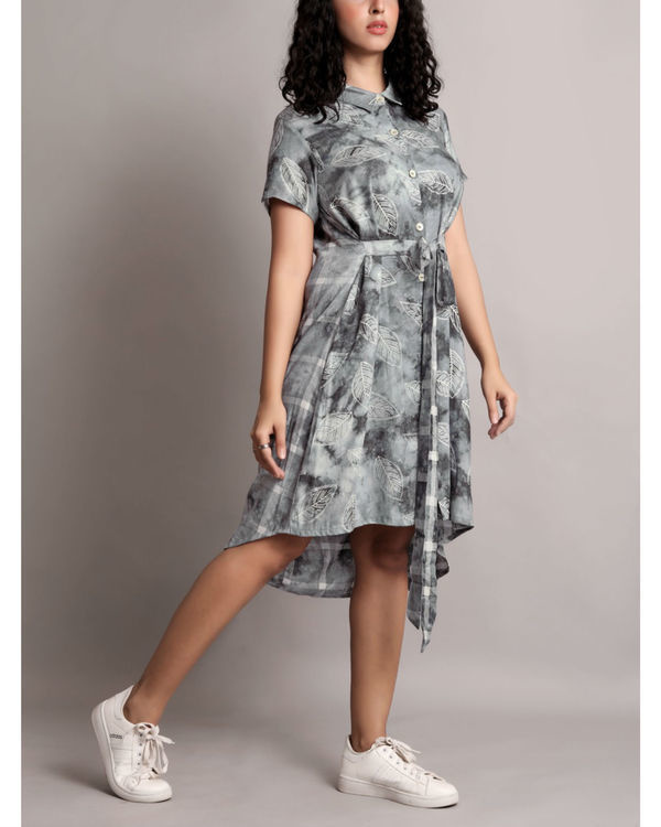 Grey half and half front tie-up dress 2