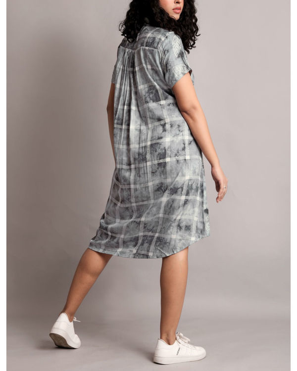 Grey half and half front tie-up dress 1
