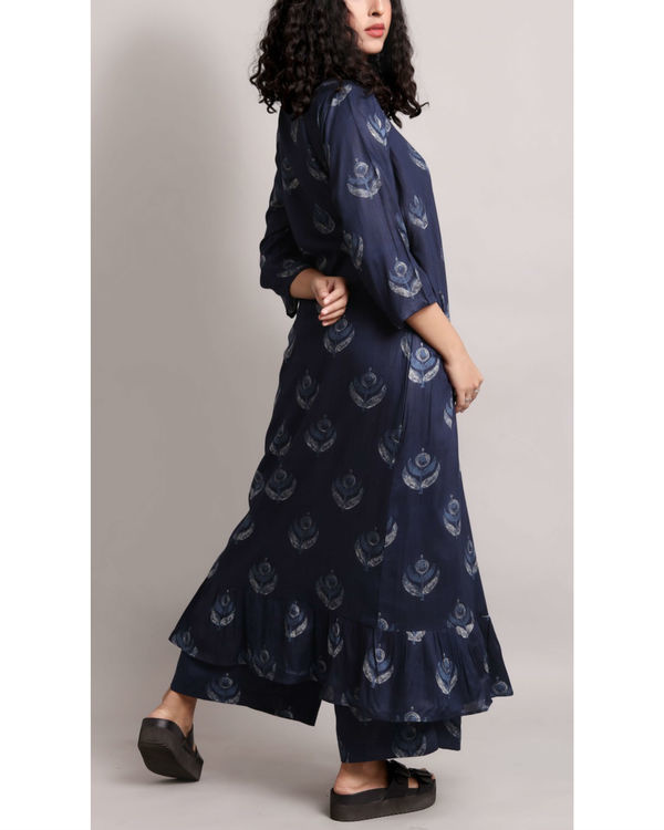 Blue wrap printed kurta set 1