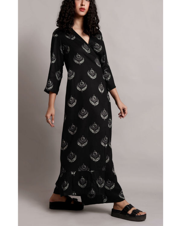 Black wrap printed kurta set 3
