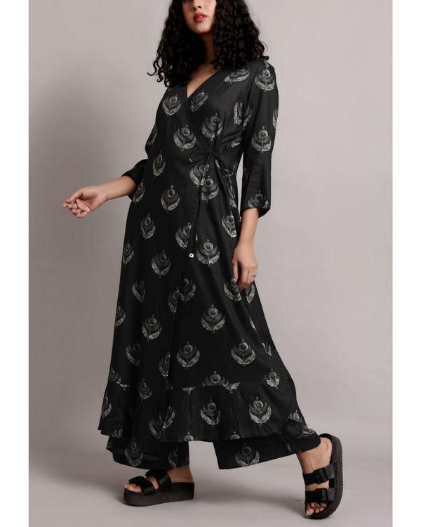 Black wrap printed kurta set 2