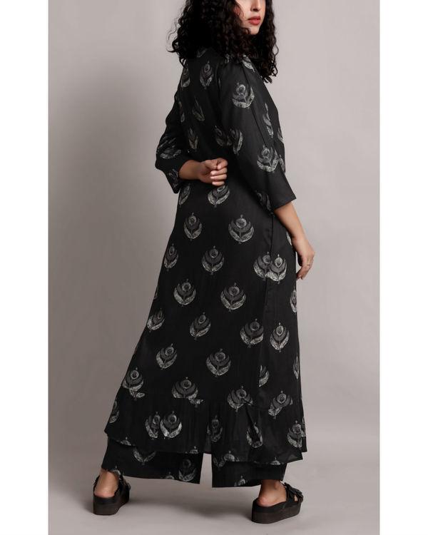 Black wrap printed kurta set 1