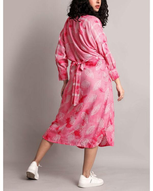 Pink raglan waist tie up dress 1