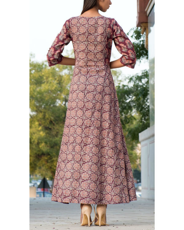 Wine ajrakh printed gown 1