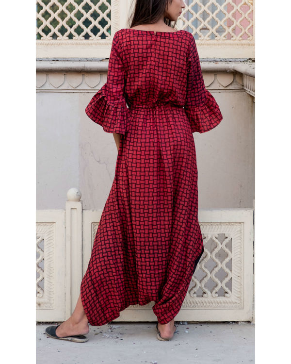 Red basket weave printed jumpsuit 1