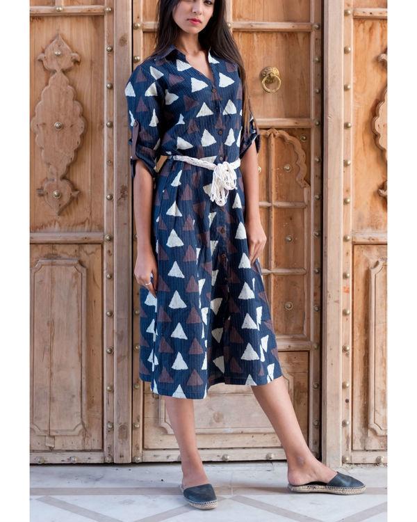 Triangle print kantha dress with belt 2