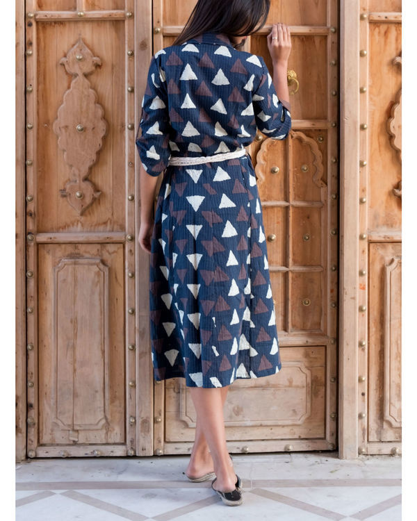 Triangle print kantha dress with belt 1