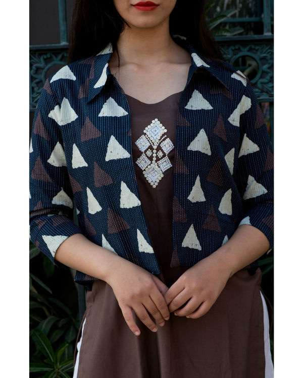 Brown embroidered tunic with kantha jacket 1