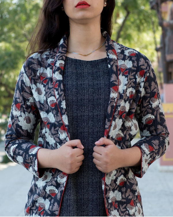 Black ajrakh kantha jacket with printed  dress 3