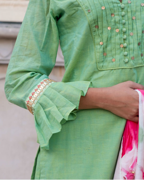 Green short kurta with sharara & stole 2