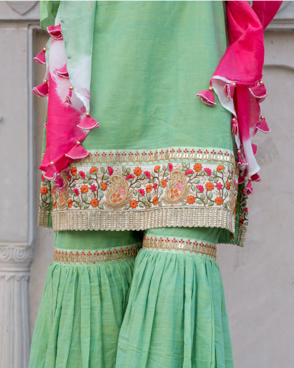 Green short kurta with sharara & stole 1