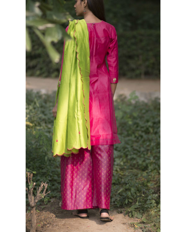 Scarlet pink tulip embroidered sharara set with lime green dupatta 4