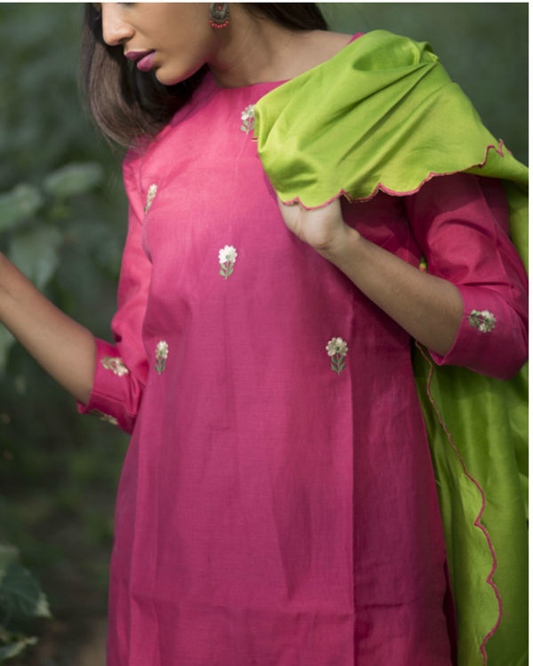 Scarlet pink tulip embroidered sharara set with lime green dupatta 3