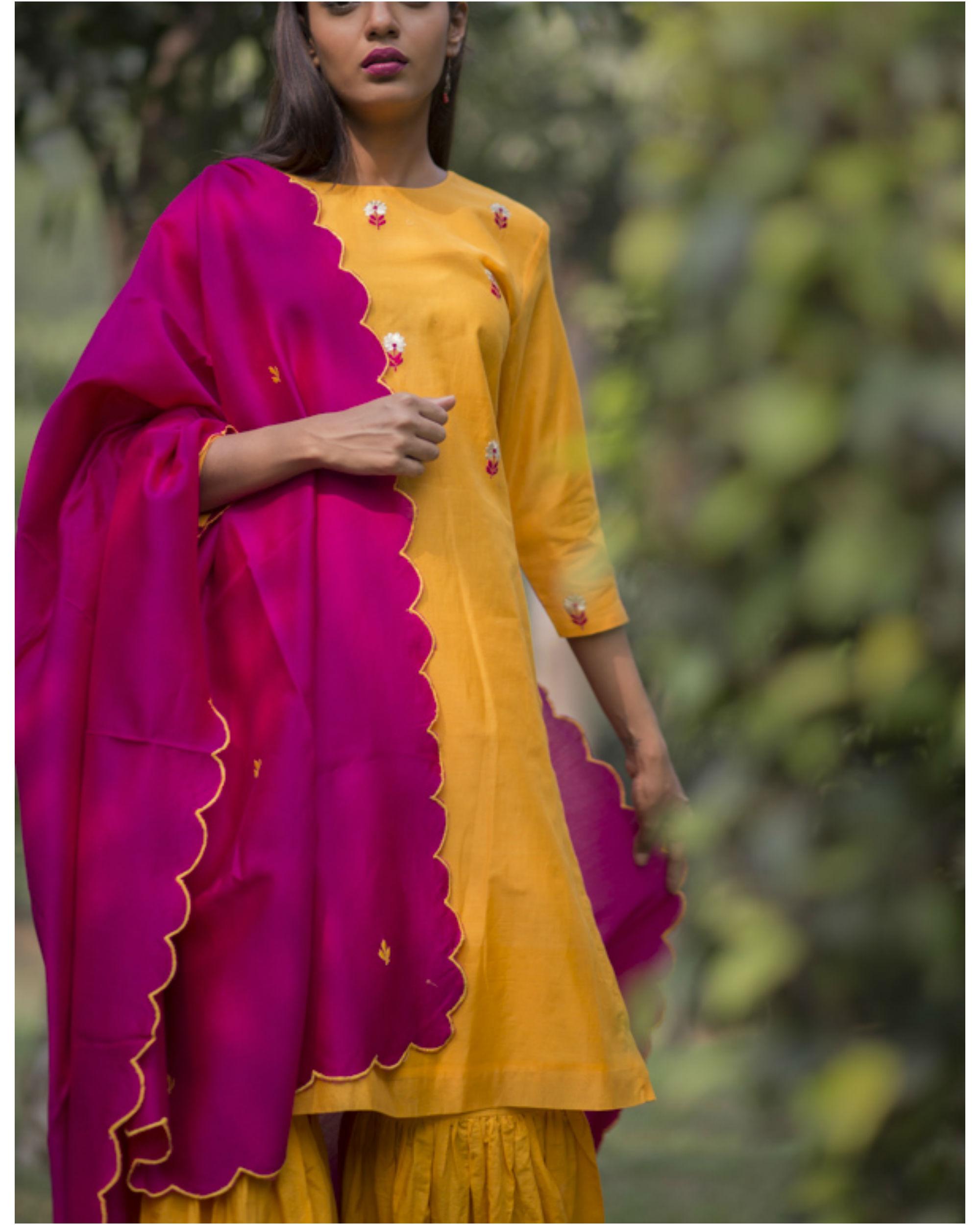 Ihram Kids For Sale Dubai: Kesari Phool Kurta Sharara Set With Embroidered Dupatta By