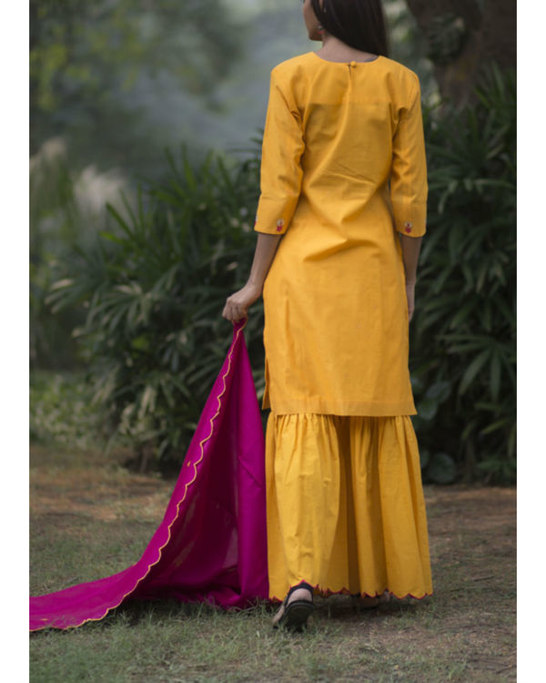 Kesari phool kurta sharara set with embroidered dupatta 3