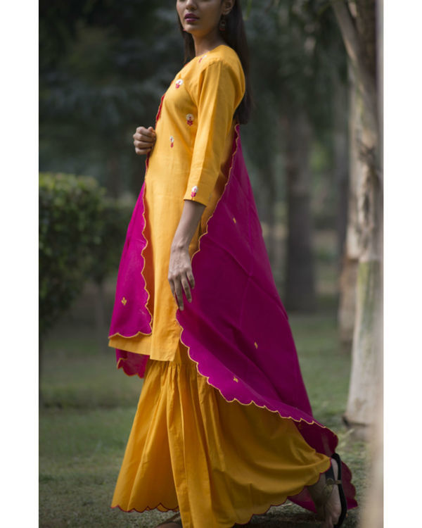 Kesari phool kurta sharara set with embroidered dupatta 2