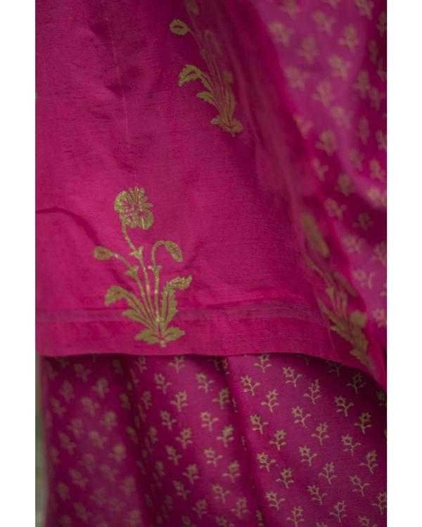 Rani pink gulmohar kurta set with dupatta 1