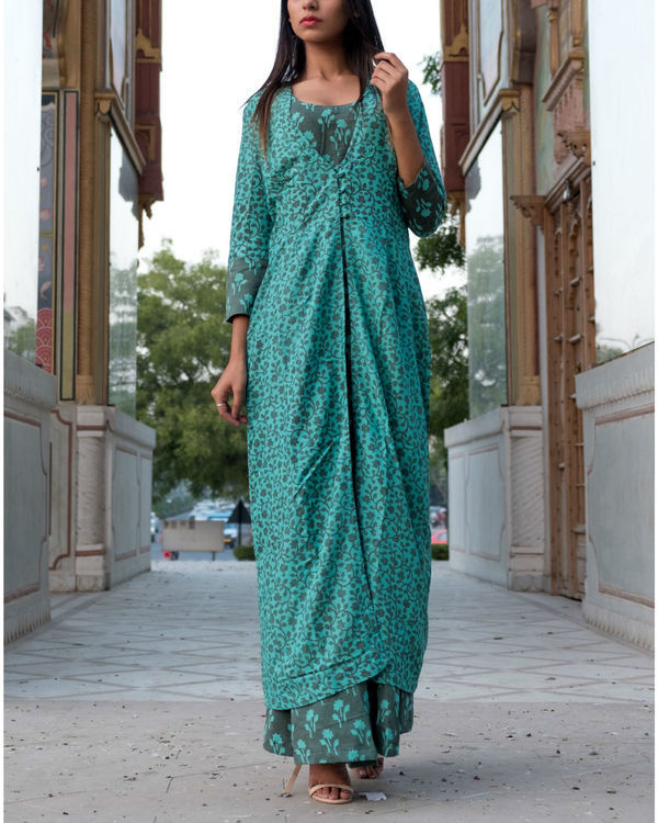 Teal grey printed double layered dress 4