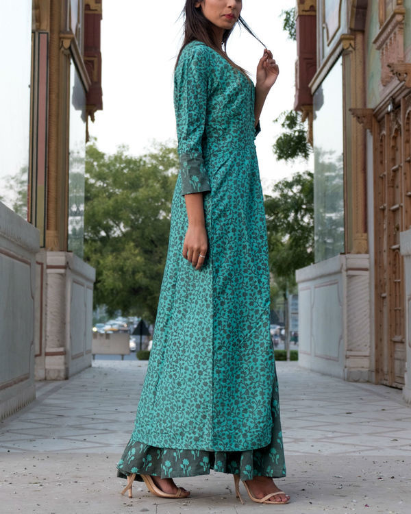 Teal grey printed double layered dress 3