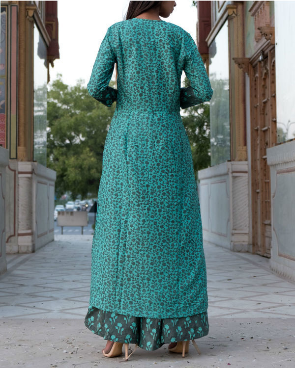 Teal grey printed double layered dress 2