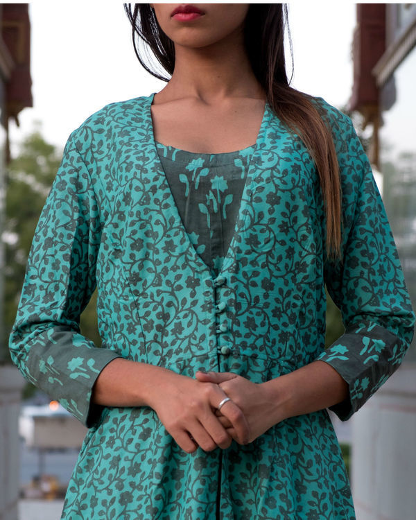 Teal grey printed double layered dress 1
