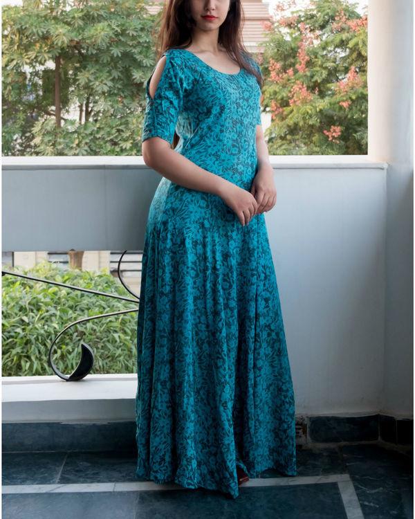 Flare blue cold shouldered dress 3