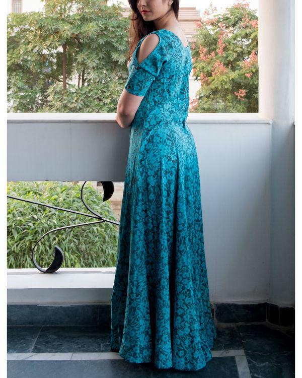 Flare blue cold shouldered dress 2