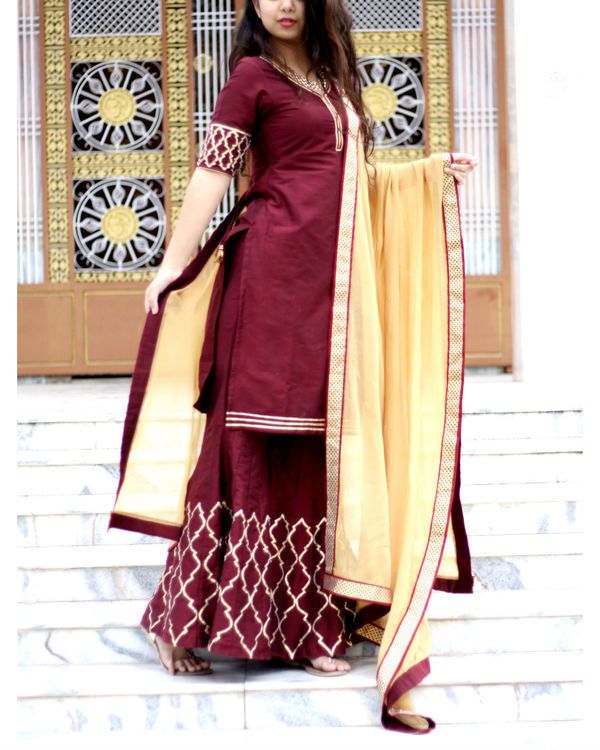 Beige and wine sharara set 3