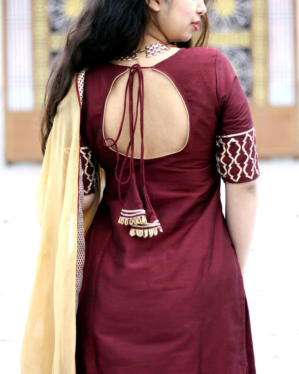 Beige and wine sharara set 2