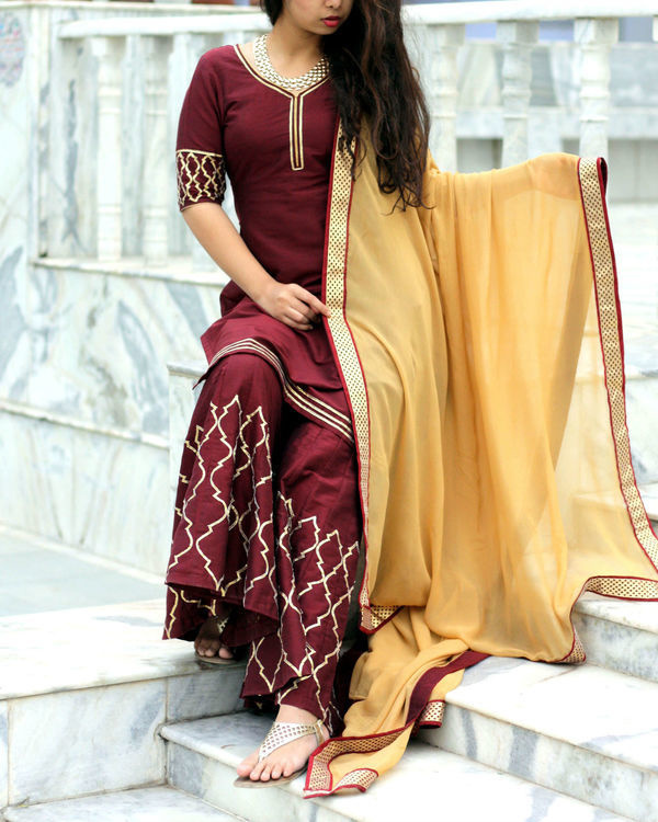 Beige and wine sharara set 1