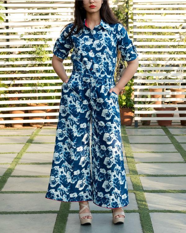 Blue floral flare jumpsuit 3