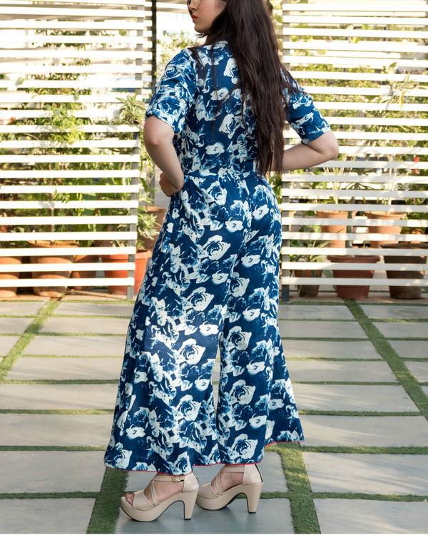 Blue floral flare jumpsuit 2