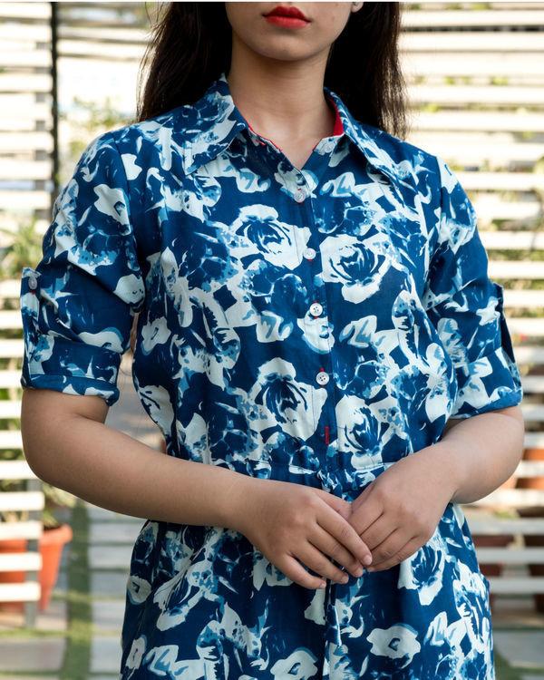 Blue floral flare jumpsuit 1