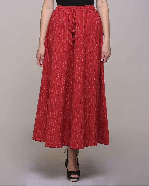Red ikat  cotton palazzo pant 3