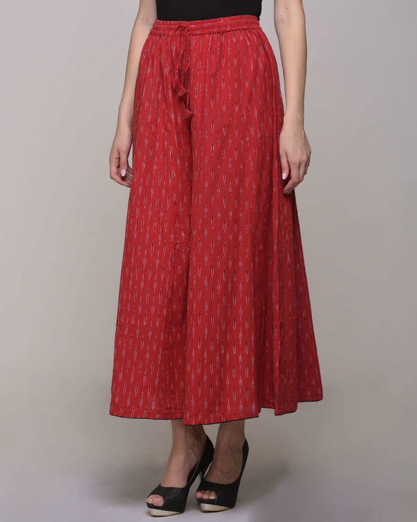 Red ikat  cotton palazzo pant 2