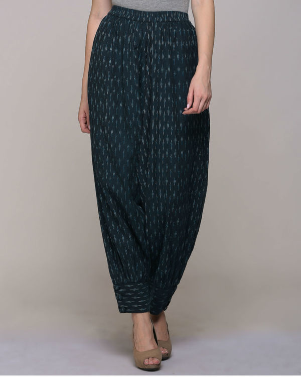 Green ikat cotton harem pant with cuff 3
