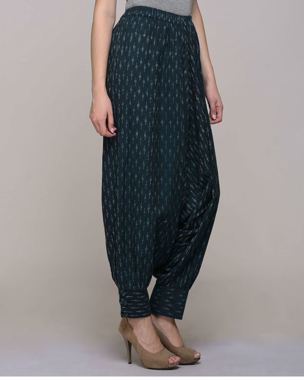 Green ikat cotton harem pant with cuff 2