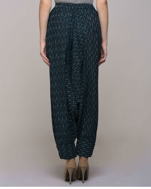 Green ikat cotton harem pant with cuff 1