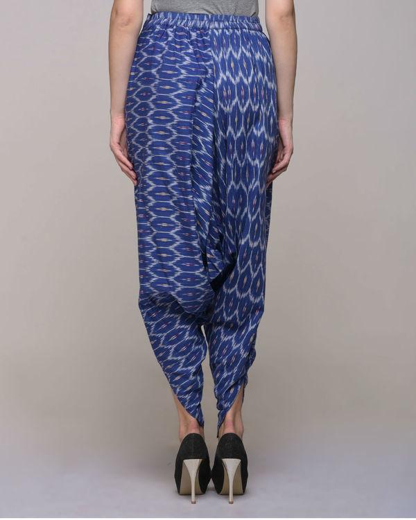 Blue ikat cotton harem pant 1