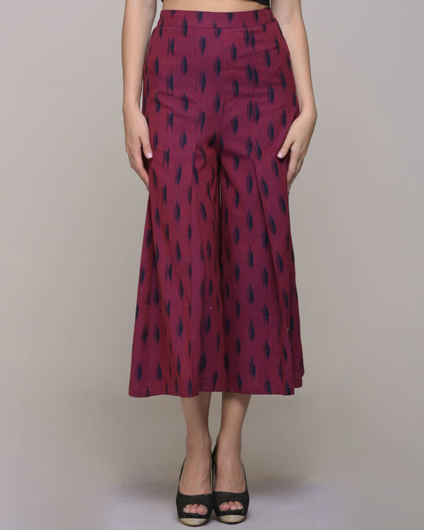 Pink ikat pleated cotton  pant 3